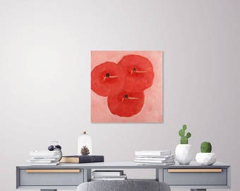 """Red and pink wall/ Abstract figure painting print/Abstract red poppy flower art """"Line Dance"""""""