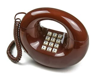 Vintage 1970s Donut Phone, Retro Home Decor, Not Working for Display Only