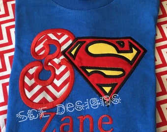 Superman Inspired birthday shirt personalized with name and birthday number-order Superhero birthday shirt- embroidery