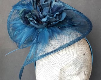 Deep Blue Ladies Fashion Hat:  Hat for Church, New Years Eve, Derby, or Christmas Parties