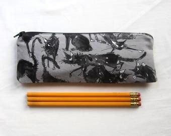 Skinny Cranky Cats Zipper Pouch / Pencil Case