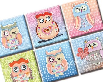 Colorful Winter Owls 1x1 inch Digital Collage Sheet squares.  Download 1 x 1 images. Printable cartoons for print and DIY decors.