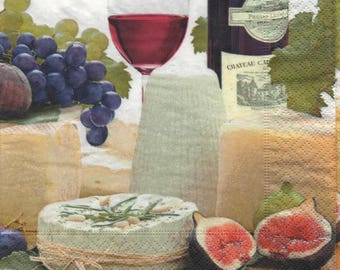 3305 lot 5 wine grapes and cheese napkins