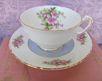 Tea Cup And Saucer Set FLORAL English Bone China Blue Cup White interior Pink Flowers ASM14 Floral China Company