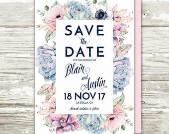 Sweet Rustic Boho Floral Succulent Save the Date Invitation, Succulent Protea Cactus Printable Invitation