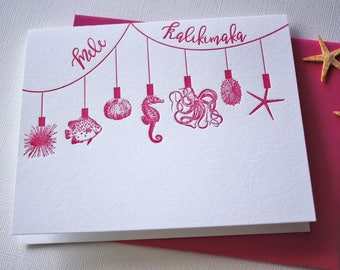 Sea Ornaments Holiday Letterpress Card Set Mele Kalikimaka Merry Christmas Folded
