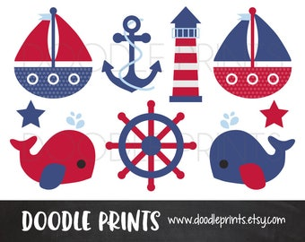 Nautical Clipart, Digital Clip Art, Sail boats, Ocean Whale, Anchor, Red and Blue Nautical // Navy Light Blue, Personal and Commercial Use