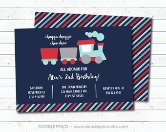 Train Invitation, Choo Choo Train Birthday Invitation, Blue Boy Train Birthday Party, Printable Digital Invite, 5x7 or 4x6