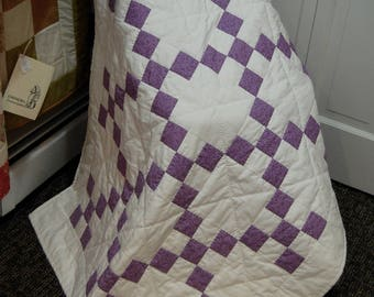 FREE SHIPPING, Baby quilt, Irish Chain Quilt, Purple Baby Quilt, Hand Quilted
