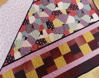 Cat Floral Handmade lap quilt 54 x 77