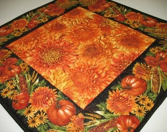 Autumn Table Topper, Thanksgiving, handmade, quilted, fall leaves, pumpkins, chrysanthemums, wall hanging,Timeless Treasure