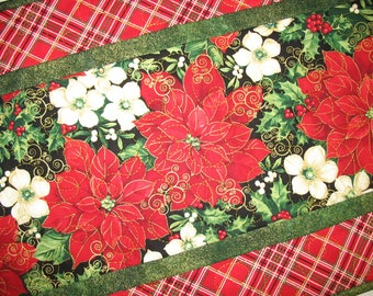 Christmas Table Runner,  Poinsettias, quilted, handmade, red plaid, fabric Timeless Treasures