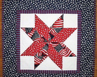 Sale Christmas in July July 4th Wall Hanging or Table Topper - Patriotic Year Round Independence Day Stars and Stripes