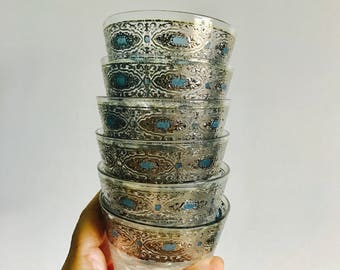 Mid Century Silver & Blue LowBall Glasses