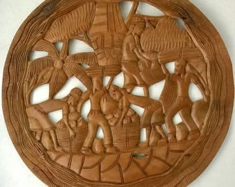 Large Hand Carved Wood Island Wall Hanging
