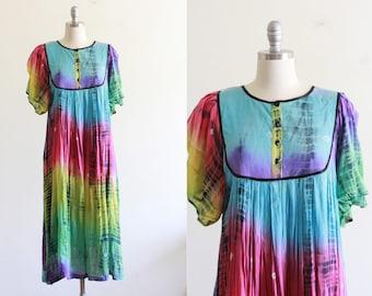 Vintage Boho Tye Dye Dress / Made in India / Boho Hippie / M