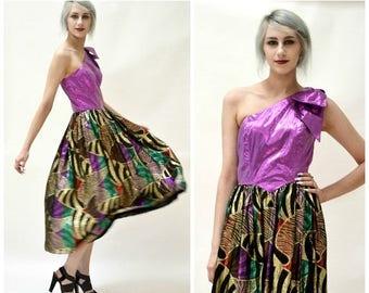 SALE Vintage Metallic 80s Prom Dress Size XS Small Gold Purple Lame Dress// 80s Party Dress Size XS Small