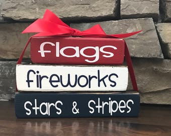 "4th of July ""MINI"" stacker blocks-- flags fireworks Stars and Stripes"