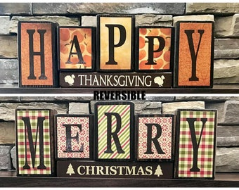 Reversible Merry Christmas and Happy Thanksgiving wood blocks(vintage/muted)