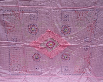 Vintage FANCY Silky Pink Diamond Damask Embroidered Full Bedspread & Pillowcases