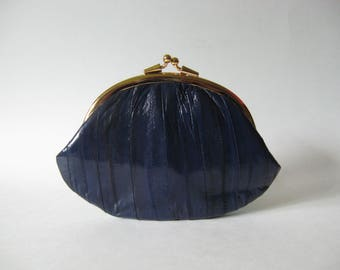 Glossy blue vintage genuine eel skin purse  gold hardware Korea 80s 90s double kisslock change pouch