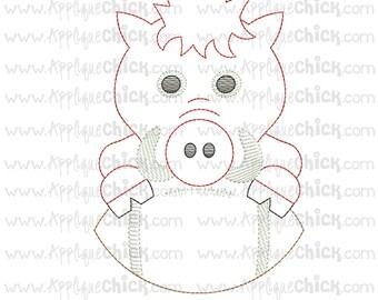 Vintage Stitch Hog Embroidery Design