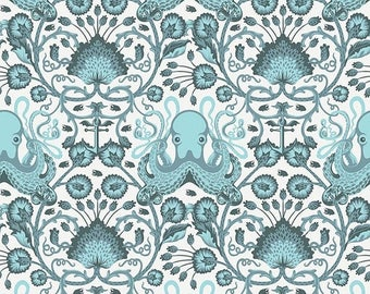 SALE 10% Off - Tula Pink  SALT WATER  Octo Garden in Aqua (Pwtp-029) - Free Spirit Fabric - By the Yard