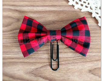 Buffalo Plaid Planner clip, bookmark, planner bow clip, bow bookmark, checkered print fabric planner clip, red black