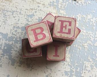 VINTAGE Toy Wood Blocks - Alphabet - Numbers - Pictures