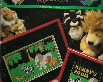 Animal Zoo Cross Stitch Pattern Counted Vintage Cross Stitch Patterns Cross Stitch Leaflet Jungle March