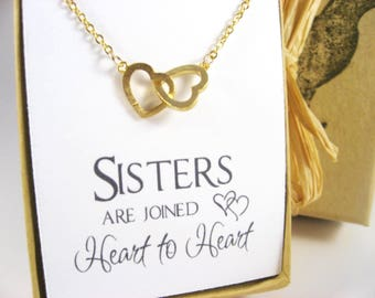 Interlocking Hearts Necklace, Gold Connected Hearts Necklace, Sisters Necklace, Sister Gift, Dainty Heart Necklace,  Silver Double Hearts