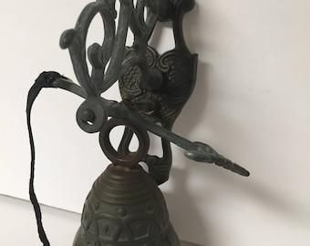 Vintage Small Cast Iron Bell Wallmount