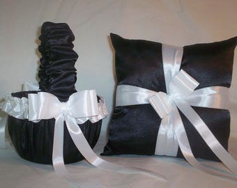 Black Satin With White Ribbon Trim  Flower Girl Basket And Ring Bearer Pillow Set 1