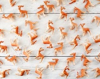 Bulk Reindeer Figurines - 50 Miniature Plastic Deer for Crafts