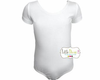 White Leotard-Ballet Short Sleeve Leotard (Children's)