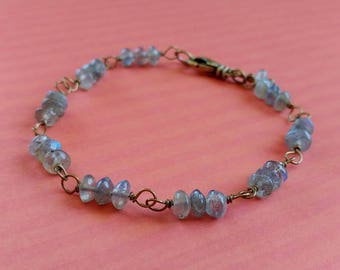 Labrodite Gemstone Bracelet - Beads on Antiqued Brass Link Chain