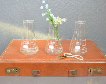 Set of 3 Vintage Beaker Pyrex Glass Lab Labware 1950's Industrial Home Decor Collection Vintage Pyrex Glass Vases Jars 250ml 5100