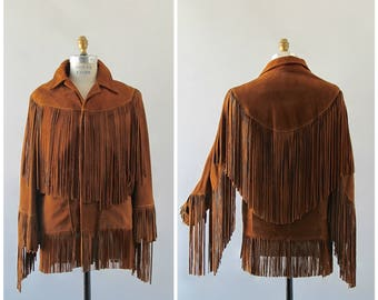 ON THE FRINGE Vintage Late 60s Jacket | 1960's Brown Western Suede Leather Jacket by Pioneer Wear | Boho, Hippie, Southwestern | Mens Small