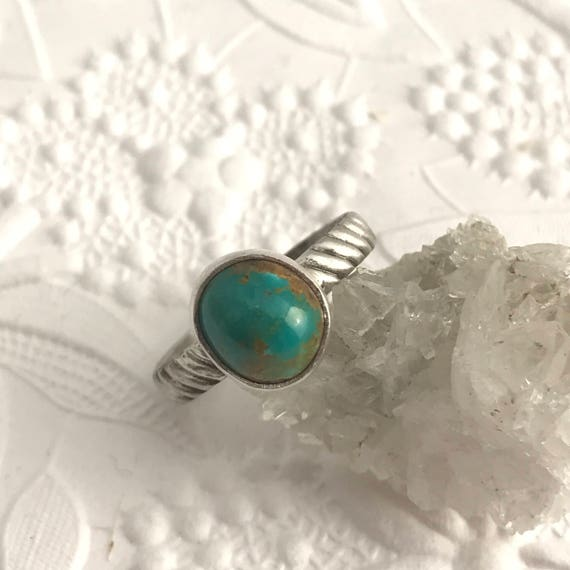 Turquoise and sterling silver ring.