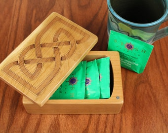 Wooden Storage Box 5-3/8 x 3-3/8, Solid Cherry - Laser Engraved, Celtic Trinity Knot, Paul Szewc, Masterpiece Gallery
