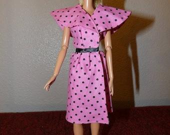Handmade pink & black polka dot wrap dress for Fasahion Dolls - ed1058