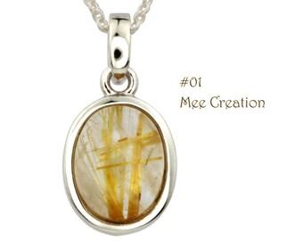 PD010101) Golden Rutilated Quartz Pendant, Oval Pendant, Golden pendant, Yellow Pendant, Gemstone Pendant, 925 Sterling Silver Pendant