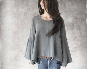 Gray top women/Stripe suiting shirt/Trapeze blouse woven/Slip over top/Bell sleeve