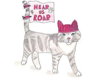 Pussy cat in a pussyhat art print, resist, persist, womens march, hear us roar, resistance, kitty hat, pink, watercolor, sketchbook art