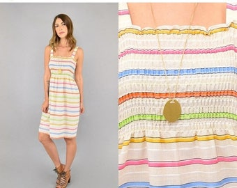 SUMMER SALE 80's Striped Rainbow Sundress