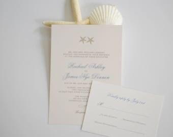 Star Fish Wedding invitation, Pocketfold invitation, nautical invitation, beach invitation, custom invitation, cape cod invitation
