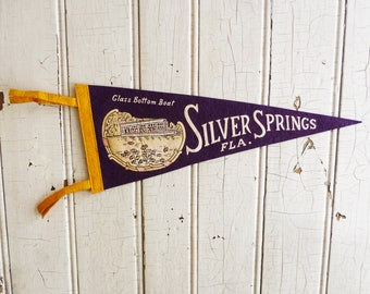 Vintage Silver Springs Florida Souvenir Pennant - Pre-Disney World Felt Pennant - Glass Bottom Boat - Mid-Century 1960s - Camper Decor