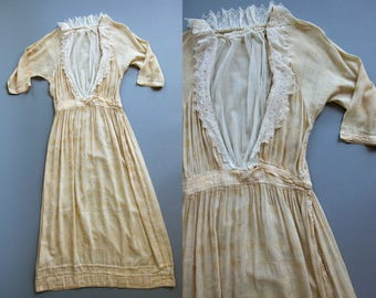 Brocade Edwardian Dress/ 1910's/ Antique Dress/ Cream Colored Lightweight Women's Dress XS SM