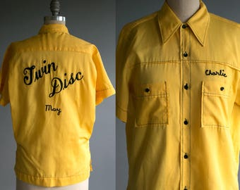Vintage 1950's Yellow Chainstitch Button Up Permanent Press Shirt, Charlie May Twin Disc , Kitsch Americana Work Wear USA