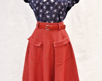 SUMMER SALE 50s style red polka dot winter skirt with pockets, size US 4 / pin up skirt / vintage style skirt / hand made / swing skirt